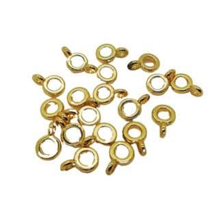 Kraal rond goud bail hanger kraal met oogje