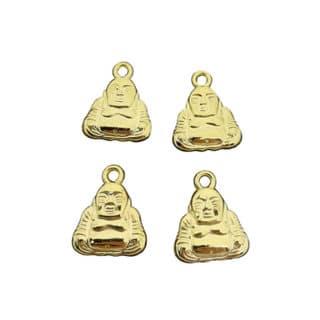 Boeddha bedeltje goud kunststof