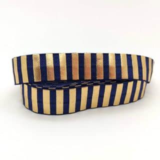 Breed elastiek koord lint blauw goud strepen zelf DIY armbandjes maken