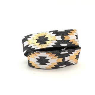 Breed sieraden elastiek koord 1.5cm aztec donker grijs wit goud armbandjes maken
