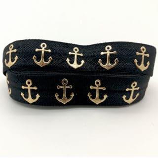 Sieraden elastiek koord 15mm zwart gouden ankers armbandjes knopen