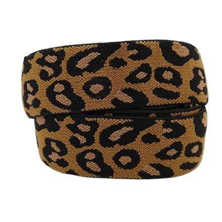 Elastisch lint koord panter leopard luipaarden dierenprint 25mm breed zelf sieraden maken