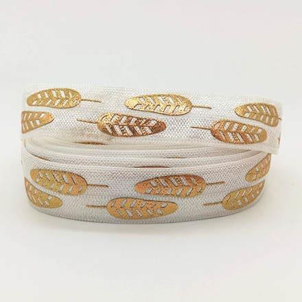 Elastisch Ibiza lint wit veertjes goud 1.5cm breed zelf armbandjes maken