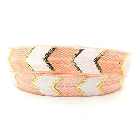 Elastische lint bias band peach goud wit chevron print armbanden zelf maken