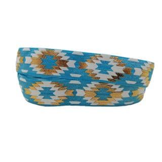 Elastiek koord breed blauwe gouden aztec print bais band