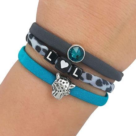 Setje armbandjes luipaard print elastisch lint