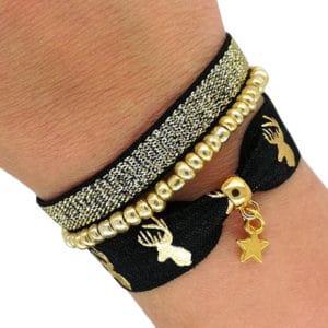 Elastiek armbandjes rendier goud zwart zelf maken kopen
