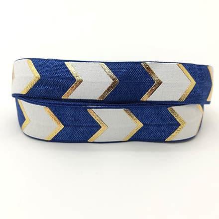 Elastisch koord navy blauw wit goud 15mm armbanden zelf maken bias band elastiek