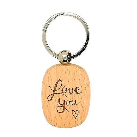 Sleutelhanger hout Love you houtbranden creatief cadeautjes uitdelen school naam