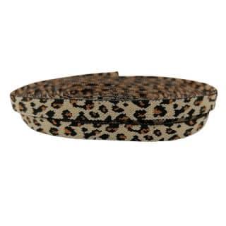 Elastisch velvet elastiek lint koord 1cm breed nude leopard print panter luipaard