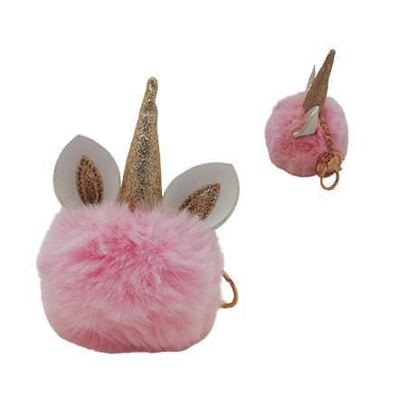 Eenhoorn sleutelhanger pompon goud roze grote bol