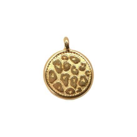 Munt bedeltje rond leopard print goud nikkelvrij zelf sieraden maken 12mm