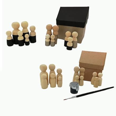 Compleet setje DIY houten kegelpoppetjes kwastje verf