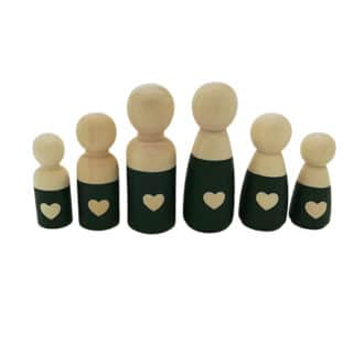 Blanke kleine houten poppetjes groen met hartje familie love gezin kopen cadeautje
