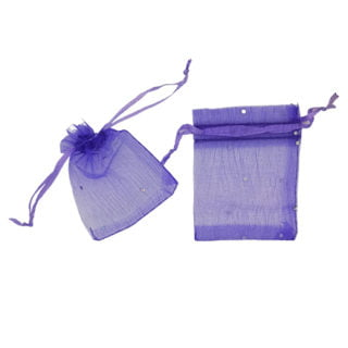 Organza zakjes verpakkingen lila met strass steentjes 9cm sieraden zakje