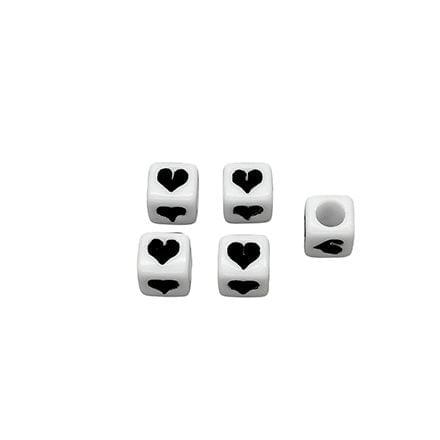 6mm witte kralen vierkant zwart hartje groot rijg gat passend bij letterkralen