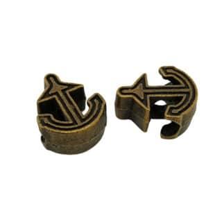 Bronzen kralen ankertjes groot rijg gat