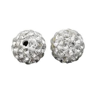 Ronde kralen met strass steentjes wit zilver