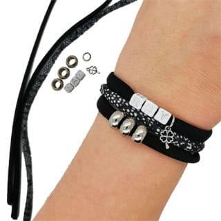 Compleet diy setje 3 armbanden zwart snake print klavertje naam letters initialen zilver