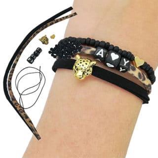 DIY compleet pakket elastische armbandjes panterprinter maken zwart goud