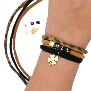 DIY pakket panterprint armbanden letter naam initialen klaver goud bruin zwart