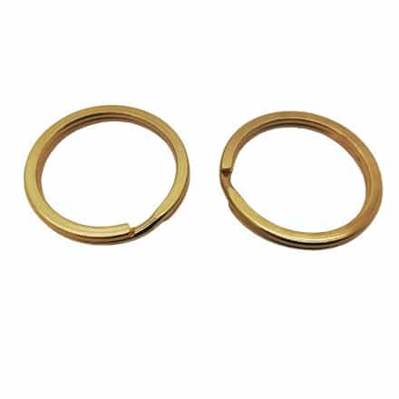 Gouden stainless steel sleutelring dubbele loop