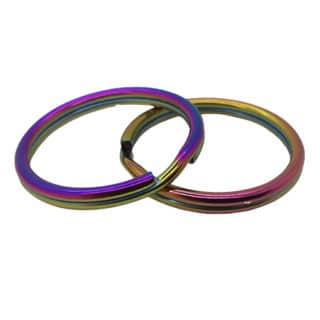 Roestvrijstalen regenboog sleutelringen metaal olie kleur