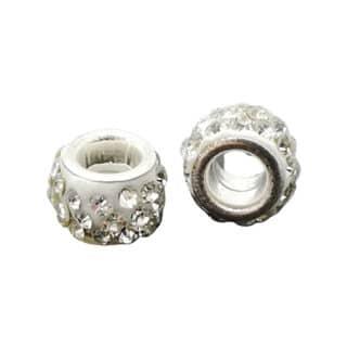 Kraal met strass steentjes wit zilver groot gat
