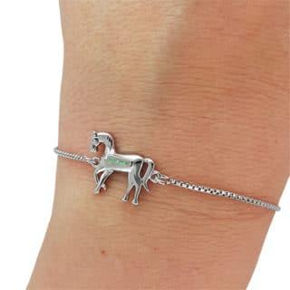 Zilveren paarden armband verstelbaar
