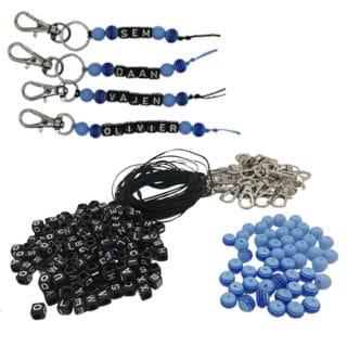 Compleet DIY setje sleutelhanger met naam zwart blauw