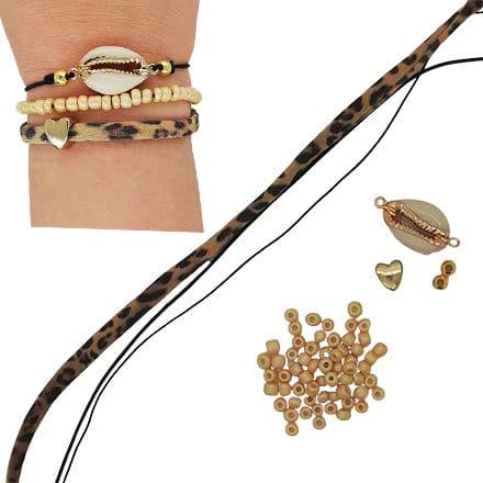 Zelf elastische armbanden met panterprint maken kauri schelp