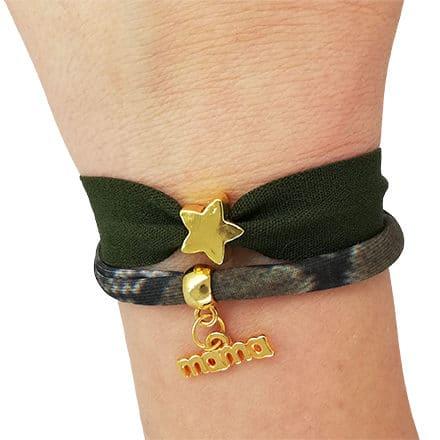 Elastieken mama armband leger groen slangenprint goud DIY zelf maken