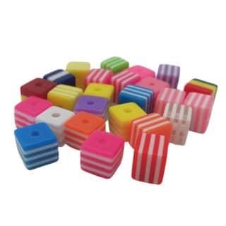 Cube kralen vierkant kleurenmix strepen resin 8mm