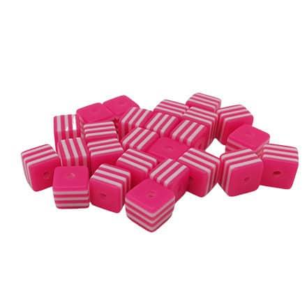 Wit roze kralen met strepen vierkant resin kunststof