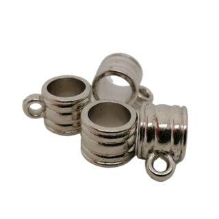 Zilveren bail kralen met oog groot gat acryl