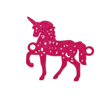 Fuchsia roze unicorn bedel tussenstuk 2 gaatjes metaal