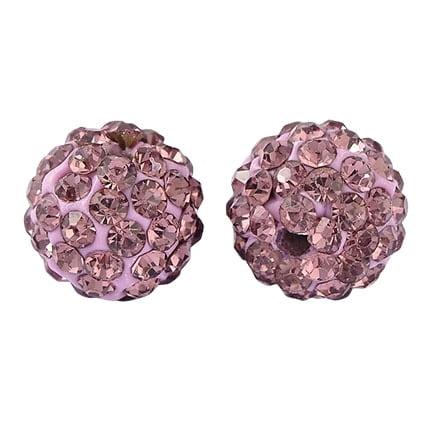 Ronde kraal met strass steentjes fimo roze 10mm