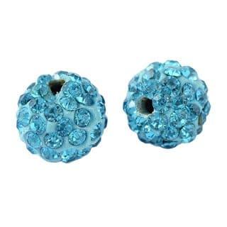 Kraal met strass steentjes blauw fimo 1cm
