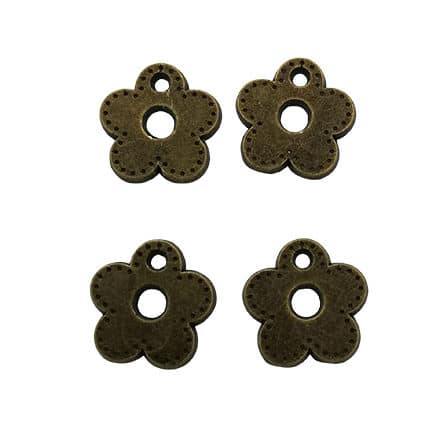 Bloem bedeltjes metaal brons