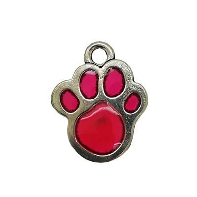 Honden pootje bedel zilver roze