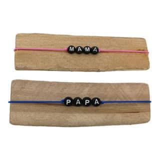 Armbandjes met naam Papa en mama blauw roze zwart