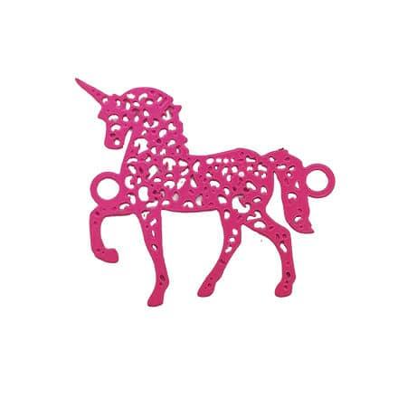 Roze eenhoorn bedel tussenstuk 2 oogjes roze metaal