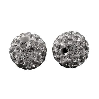 10mm kraal rond fimo strass steentjes wit zilver