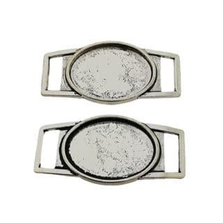 Zilveren tussenzetter metaal cabochons setting horloge