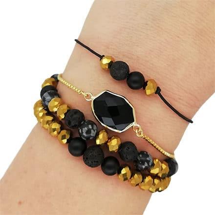 set zwart gouden kralen bolo armband