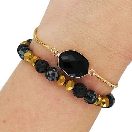 Bolo armbandje zwart goud kralenmix