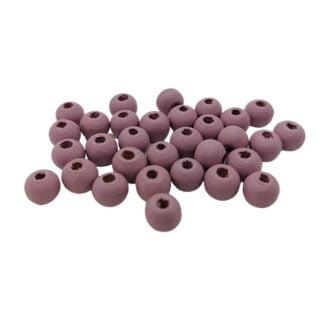 Kleine ronde kraaltjes 6mm donker lila roze hout