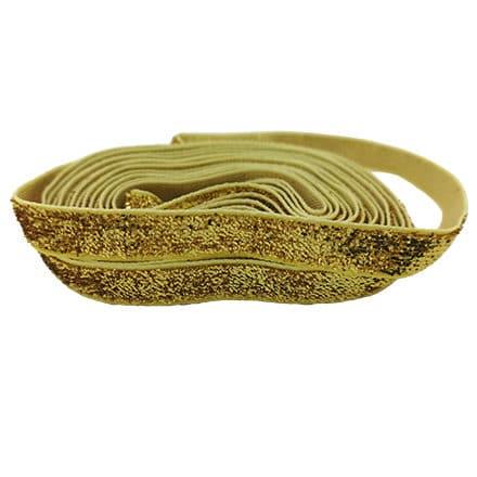 Gouden lint met glitters 6mm breed