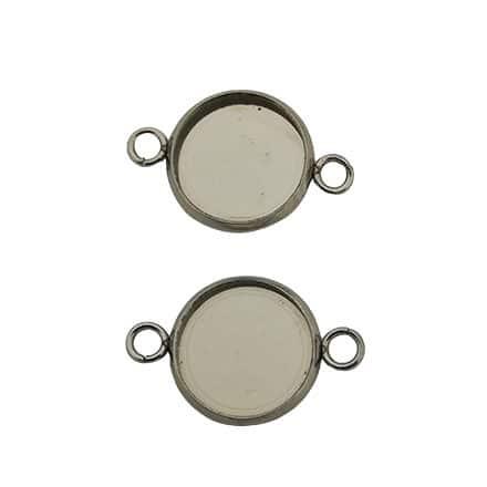 Ronde bedels 2 oogjes slider metaal zilver cabochon setttings