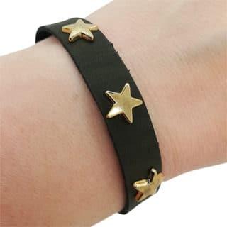 Armbanden goud donker groen sterretjes studs verstelbaar